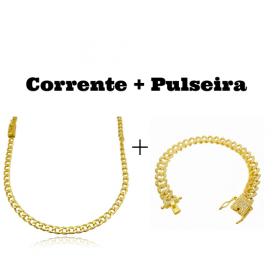 kit Corrente Grumet 4mm 60cm 14,5g (Fecho Gaveta) + Pulseira Cuban Link Cravejada em Zircônia 10mm (23,6g)