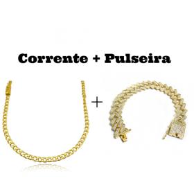 kit Corrente Grumet 4mm 60cm 14,5g (Fecho Gaveta) + Pulseira Cuban Link Retangular Cravejada em Zircônia 14mm (32,1g)