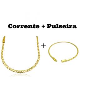 kit Corrente Grumet 4mm 60cm 14,5g (Fecho Gaveta) + Pulseira Grumet 2,8mm (Fecho Gaveta)