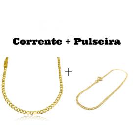 kit Corrente Grumet 4mm 60cm 14,5g (Fecho Gaveta) + Pulseira Grumet 2mm (Fecho Tradicional)