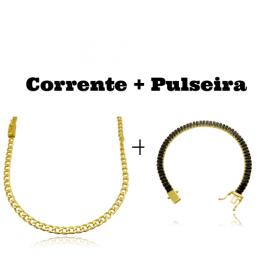 kit Corrente Grumet 4mm 60cm 14,5g (Fecho Gaveta) + Pulseira Riviera Baguetes 5mm (Pedras de Zircônia Preta) (Fecho Gaveta Duplo)