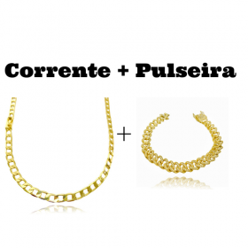 kit Corrente Grumet 5,5mm 60cm 20g (Fecho Gaveta) + Pulseira Cuban Link Cravejada em Zircônia 10mm (23,6g)