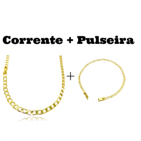 kit Corrente Grumet 5,5mm 60cm 20g (Fecho Gaveta) + Pulseira Piastrine 3,3mm (Fecho Gaveta)