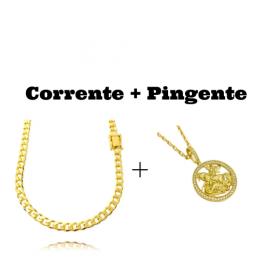 kit Corrente Grumet 6mm 60cm (33,2g) (Fecho Gaveta Duplo) (Banho Ouro 24K) + Pingente Medalha São Jorge Vazado Cravejado (4cmX3,6cm) (11g) (Banho Ouro 24k)