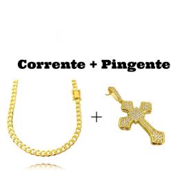 kit Corrente Grumet 6mm 60cm (33,2g) (Fecho Gaveta Duplo) + Pingente Crucifixo Catedral Cravejado em Zircônia 14g (5,2x3,2cm)
