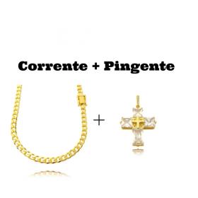 kit Corrente Grumet 6mm 60cm (33,2g) (Fecho Gaveta Duplo) + Pingente Cruz Com Pedras Quadradas (8g) (3,3cm X 2,6cm)