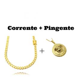 kit Corrente Grumet 6mm 60cm (33,2g) (Fecho Gaveta Duplo) + Pingente Medusa 2,9cm X 2,9cm (12g)