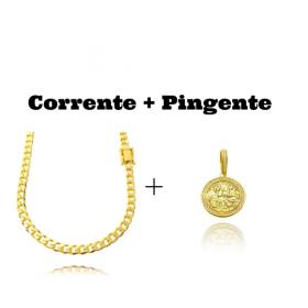 kit Corrente Grumet 6mm 60cm (33,2g) (Fecho Gaveta Duplo) + Pingente Santa Ceia Cravejado em Zircônia (3,2X2,8cm) (7,8g) (Banho Ouro 24k)