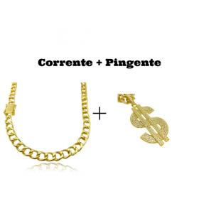 kit Corrente Grumet 7,5mm 60cm 35g (Fecho Gaveta Duplo)   + Pingente Cifrão $ Cravejado em Zircônia (Dourado) 4,6cm X 2,9cm 9g