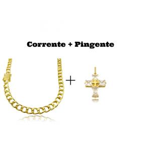 kit Corrente Grumet 7,5mm 60cm 35g (Fecho Gaveta Duplo)  + Pingente Cruz Com Pedras Quadradas (8g) (3,3cm X 2,6cm)