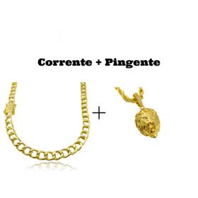 kit Corrente Grumet 7,5mm 60cm 35g (Fecho Gaveta Duplo) + Pingente Leão Maciço 3,0x2,2cm (17g)