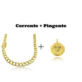 kit Corrente Grumet 7,5mm 60cm 35g (Fecho Gaveta Duplo) + Pingente Medusa Octa 6,5g 2,7cm x 2,7cm