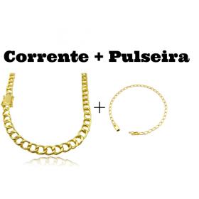kit Corrente Grumet 7,5mm 60cm 35g (Fecho Gaveta Duplo) + Pulseira Grumet Aberta 3,5mm (Fecho Gaveta)