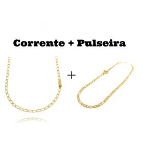 kit Corrente Grumet Aberta 3,5mm 60cm (8,8g) (Fecho Gaveta) + Pulseira 3 por 1 2mm (Fecho Tradicional)