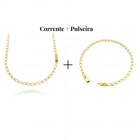 kit Corrente Grumet Aberta 3,5mm 60cm (8,8g) (Fecho Gaveta) + Pulseira Grumet Aberta 3,5mm (Fecho Gaveta)
