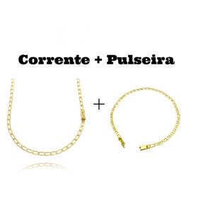 kit Corrente Grumet Aberta 3,5mm 60cm (8,8g) (Fecho Gaveta) + Pulseira Piastrine 3,3mm (Fecho Gaveta)