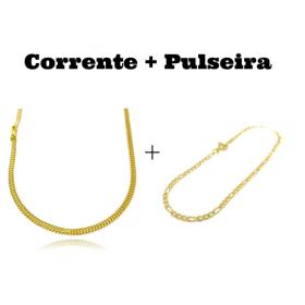 kit Corrente Grumet Union 3,3mm 60cm 7g (Fecho Gaveta) + Pulseira 3 por 1 2mm (Fecho Tradicional)