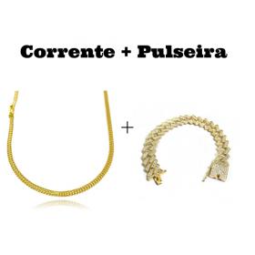 kit Corrente Grumet Union 3,3mm 60cm 7g (Fecho Gaveta) + Pulseira Cuban Link Retangular Cravejada em Zircônia 14mm (32,1g)