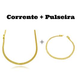 kit Corrente Grumet Union 3,3mm 60cm 7g (Fecho Gaveta) + Pulseira Grumet Union 3,3mm (Fecho Gaveta)