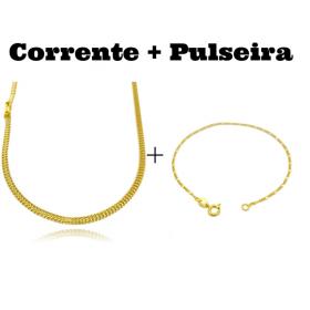 kit Corrente Grumet Union 3,3mm 70cm 9g (Fecho Gaveta) + Pulseira 3 por 1 1,6mm (Fecho Tradicional)