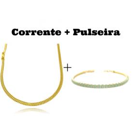 kit Corrente Grumet Union 3,3mm 70cm 9g (Fecho Gaveta) + Pulseira 3 por 1 4,5mm (Fecho Gaveta)