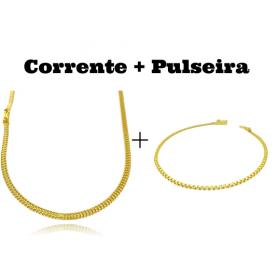 kit Corrente Grumet Union 3,3mm 70cm 9g (Fecho Gaveta) + Pulseira Cadeado Duplo 2,8mm (Fecho Gaveta)