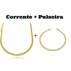 kit Corrente Grumet Union 3,3mm 70cm 9g (Fecho Gaveta) + Pulseira Cadeado Duplo 3,5mm (Fecho Gaveta)