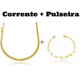 kit Corrente Grumet Union 3,3mm 70cm 9g (Fecho Gaveta) + Pulseira Cartier Arredondada 4,5mm (7,3g) (Fecho Canhão)