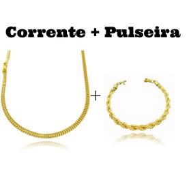 kit Corrente Grumet Union 3,3mm 70cm 9g (Fecho Gaveta) + Pulseira Cordão Baiano 6mm (20,3g) (Fecho Canhão)