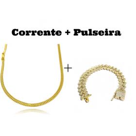 kit Corrente Grumet Union 3,3mm 70cm 9g (Fecho Gaveta) + Pulseira Cuban Link Retangular Cravejada em Zircônia 14mm (32,1g)