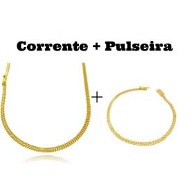 kit Corrente Grumet Union 3,3mm 70cm 9g (Fecho Gaveta) + Pulseira Grumet Union 3,3mm (Fecho Gaveta)