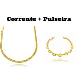 kit Corrente Grumet Union 3,3mm 70cm 9g (Fecho Gaveta) + Pulseira Gucci Link 8mm (9,4g) (Fecho Canhão)