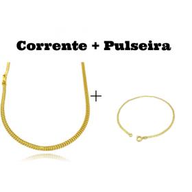 kit Corrente Grumet Union 3,3mm 70cm 9g (Fecho Gaveta) + Pulseira Piastrine 2mm (Fecho Tradicional)