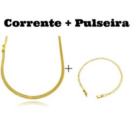 kit Corrente Grumet Union 3,3mm 70cm 9g (Fecho Gaveta) + Pulseira Piastrine 3,3mm (Fecho Gaveta)