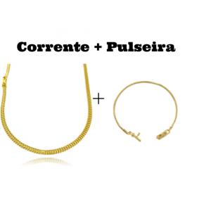 kit Corrente Grumet Union 3,3mm 70cm 9g (Fecho Gaveta) + Pulseira Rabo de Rato 2mm (Fecho Canhão)