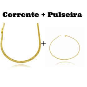 kit Corrente Grumet Union 3,3mm 70cm 9g (Fecho Gaveta) + Pulseira Rabo de Rato Quadrada 1,2mm (Fecho Tradicional)