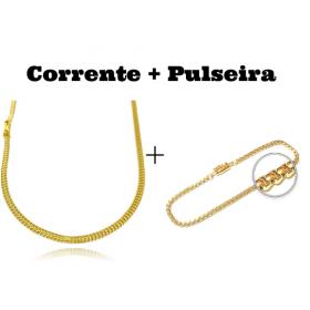 kit Corrente Grumet Union 3,3mm 70cm 9g (Fecho Gaveta) + Pulseira Veneziana 2,8mm 7g (Fecho Canhão)