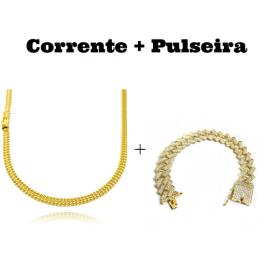 kit Corrente Grumet Union 4mm 60cm 13,5g (Fecho Gaveta) + Pulseira Cuban Link Retangular Cravejada em Zircônia 14mm (32,1g)