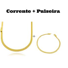 kit Corrente Grumet Union 4mm 60cm 13,5g (Fecho Gaveta) + Pulseira Grumet Union 3,3mm (Fecho Gaveta)