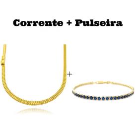 kit Corrente Grumet Union 4mm 60cm 13,5g (Fecho Gaveta) + Pulseira Riviera Pedras de Zircônia Azul 3mm 7g (Fecho Canhão)