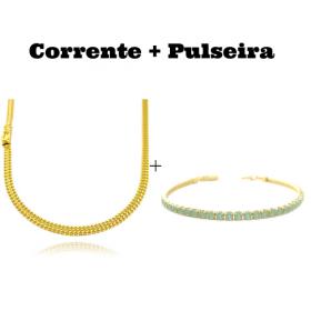 kit Corrente Grumet Union 4mm 60cm 13,5g (Fecho Gaveta) + Pulseira Riviera Pedras de Zircônia Verde 3mm 7g (Fecho Canhão)