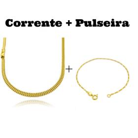 kit Corrente Grumet Union 4mm 70cm 15g (Fecho Gaveta) + Pulseira 3 por 1 1,6mm (Fecho Tradicional)