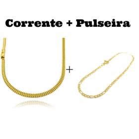 kit Corrente Grumet Union 4mm 70cm 15g (Fecho Gaveta) + Pulseira 3 por 1 2mm (Fecho Tradicional)
