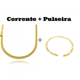 kit Corrente Grumet Union 4mm 70cm 15g (Fecho Gaveta) + Pulseira 3 por 1 4,5mm (Fecho Gaveta)