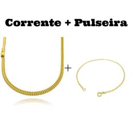 kit Corrente Grumet Union 4mm 70cm 15g (Fecho Gaveta) + Pulseira Carrier Cadeado 2mm (Fecho Tradicional)