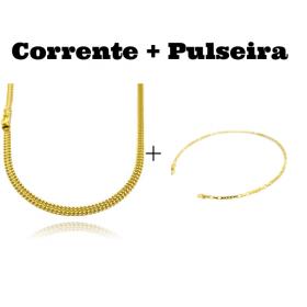 kit Corrente Grumet Union 4mm 70cm 15g (Fecho Gaveta) + Pulseira Carrier Cubinho 3 por 3 1,5mm (Fecho Tradicional)