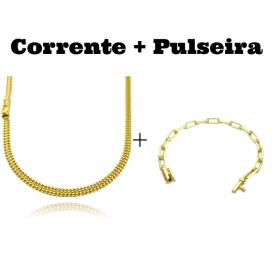 kit Corrente Grumet Union 4mm 70cm 15g (Fecho Gaveta) + Pulseira Carrier Diamantada 5mm 10g (Fecho Canhão)