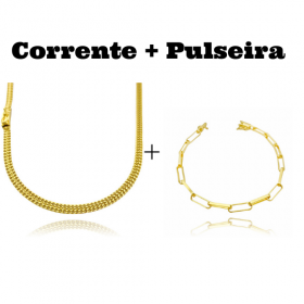 kit Corrente Grumet Union 4mm 70cm 15g (Fecho Gaveta) + Pulseira Cartier Arredondada 4,5mm (7,3g) (Fecho Canhão)
