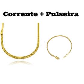 kit Corrente Grumet Union 4mm 70cm 15g (Fecho Gaveta) + Pulseira Cordão Baiano 2,5mm (Fecho Canhão)