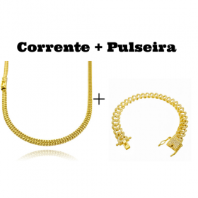 kit Corrente Grumet Union 4mm 70cm 15g (Fecho Gaveta) + Pulseira Cuban Link Cravejada em Zircônia 10mm (23,6g)